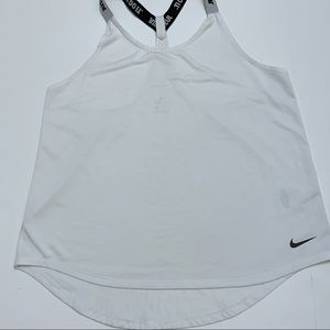 NIKE Tank Top White Just Do It Straps Large